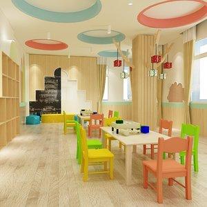 3D classroom children room