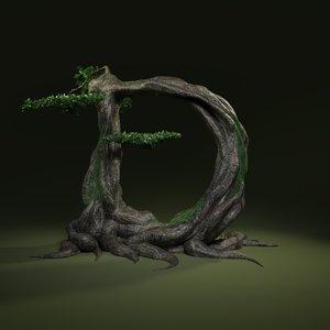 tree letter leaves 3D