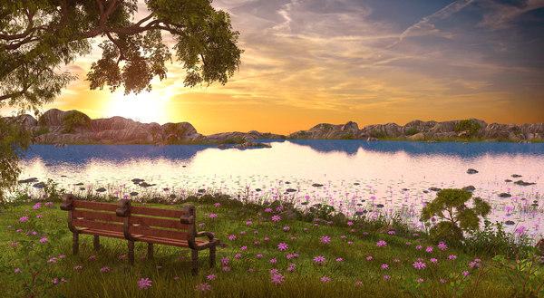 landscape bench sunset 3D