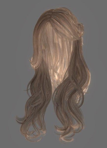 3D female hairstyle hair model