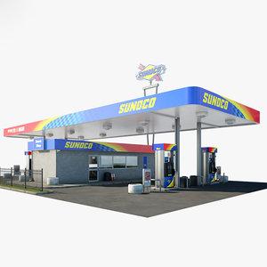 3D sunoco gas station