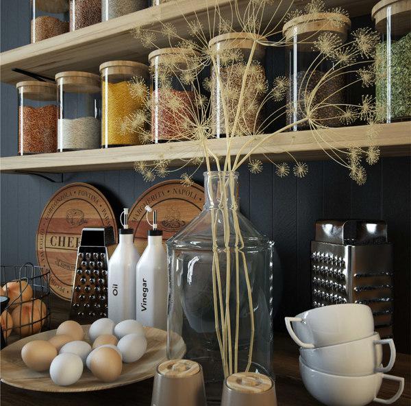 3D kitchen accessories tableware set model