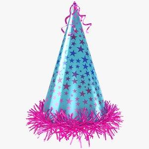 3D model party hat stars