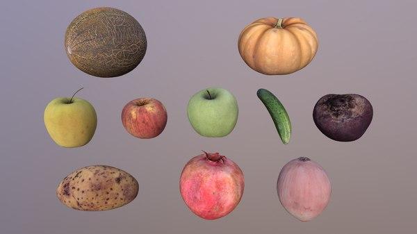 pack fruit vegetables 3D model