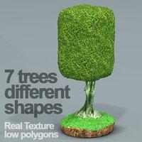 3D seven ficus trees hd