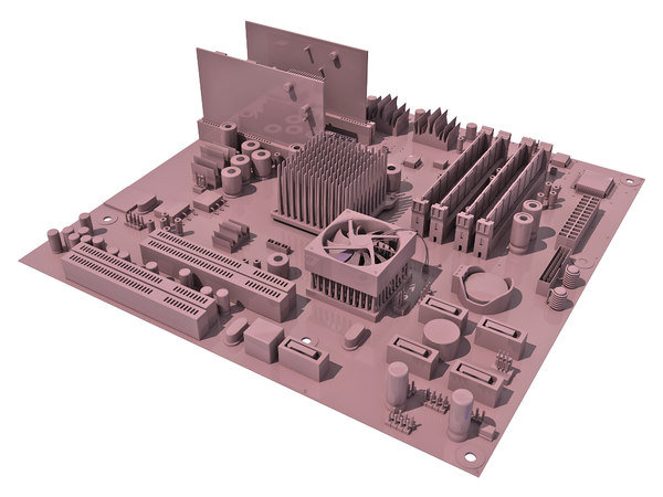 3d model of mother board