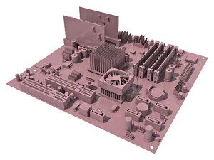 3d model of mother board
