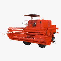 open-cab combine harvester 3D model