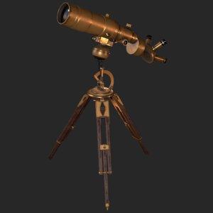 old antique telescope 3D model
