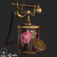 3D model retro vintage phone