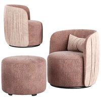 luxury armchair footstool 3D