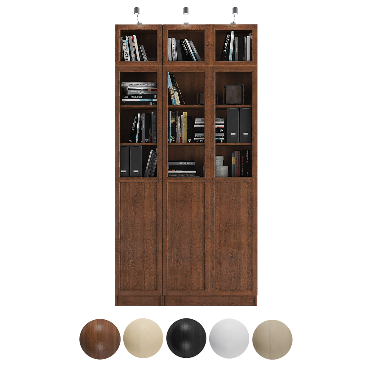 Billy Oxberg Bookcase With Panel Glass Doors Combination 4