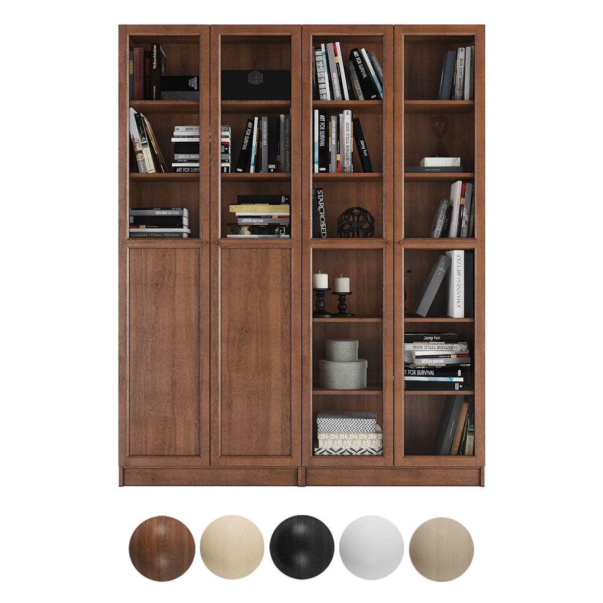 Billy Oxberg Bookcase With Panel Glass Doors Combination 3