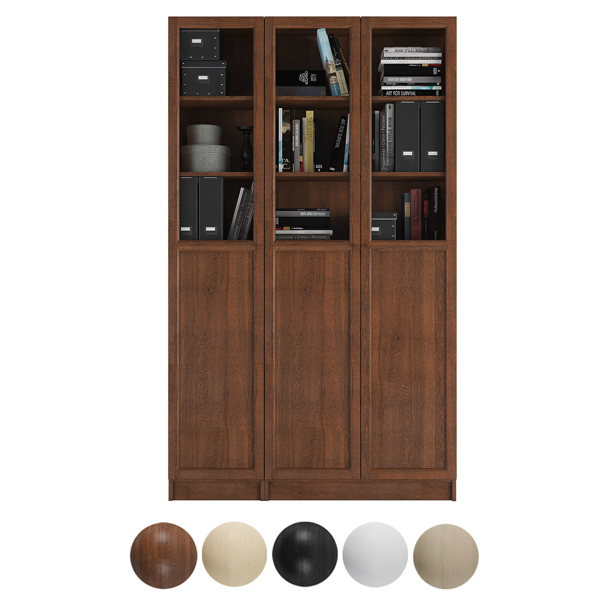 Billy Oxberg Bookcase With Panel Glass Doors Combination 7