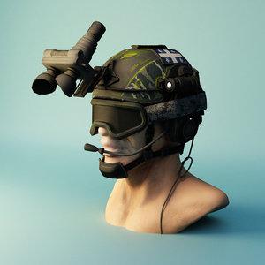 3D military helmet
