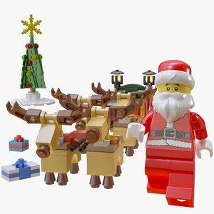 3D lego santa sleigh reindeer