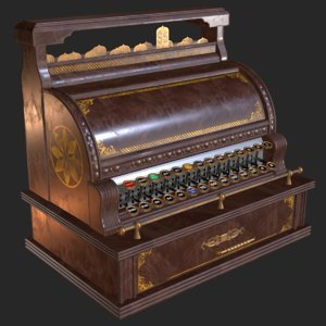 old antique cash register 3D model