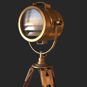 old antique spotlight 3D model