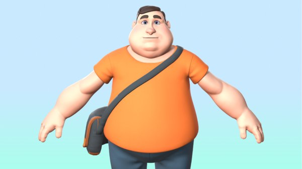 chubby male character 3D model