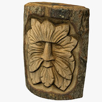 3D model carved wooden face