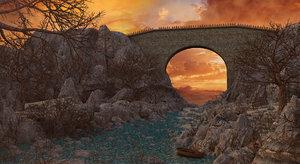 bridge river sunset model