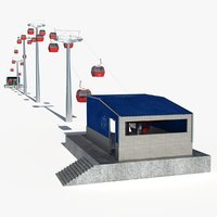 ski lift cableway rigging animation model