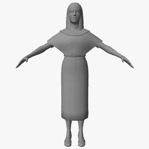 3D model egyptian character female 07
