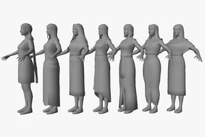 egyptian character female package 3D model