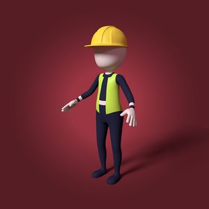 3D cartoon construction worker working