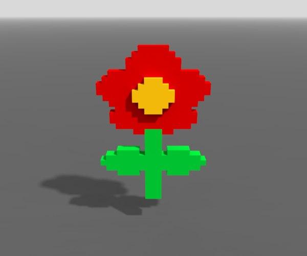 red flower voxel art 3D model