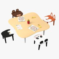 Chairs & Table Set For Kids 3D Model