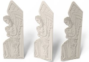 3D stl angel bas-relief model