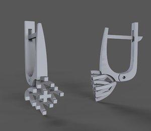 3D jewelry diamond earrings