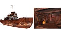 Old Abandoned Rusted Ship with Interior