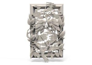 3D relief stork