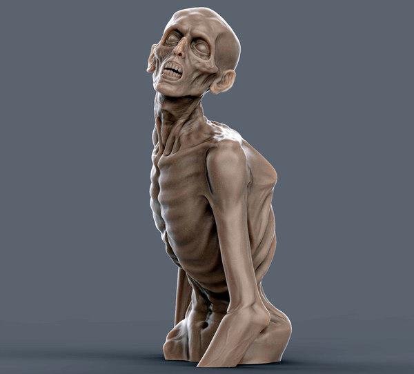 3D zombie sculpture creature model