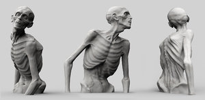 3D zombie sculpture creature model