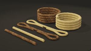 set mooring ropes watercraft model
