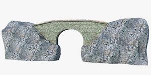bridge rock fantasy 3D