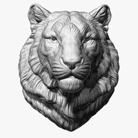 tiger head animal sculpture 3D