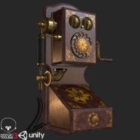 old antique wall telephone 3D model