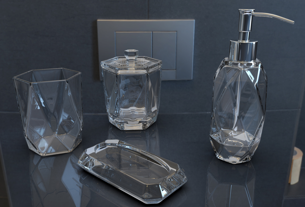 faceted glass ware set 3D model
