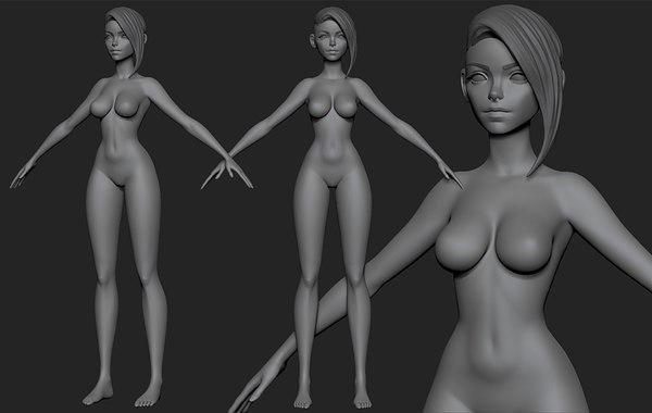 stylized girl 3D model