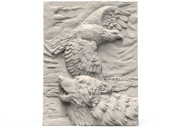 relief wolf eagle 3D