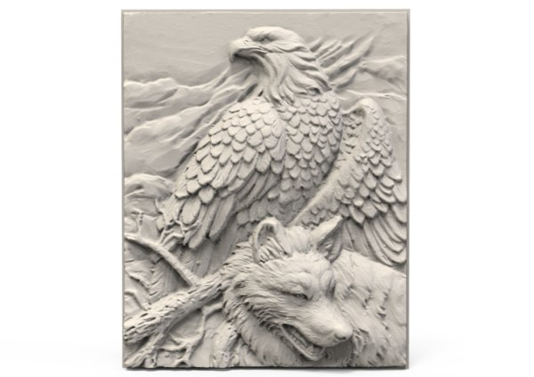 relief eagle wolf 3D model
