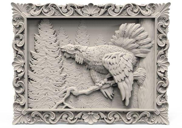 3D bird relief model