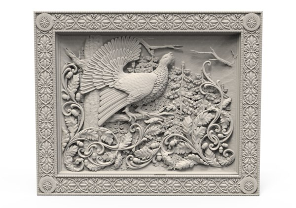 relief peacock 3D model