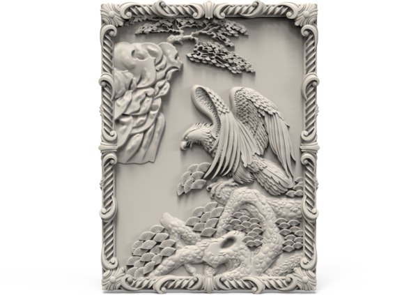 3D bird decor relief model