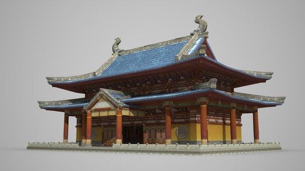 3D model buddhist palace ancient