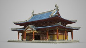 3D model buddhist palace ancient